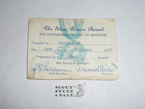 1967 Silver Beaver Award, Type SB4C, MINT with Award card