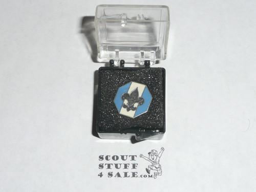 Silver Beaver Tie Tack, 1960's, Robbins hallmark, Silver with enamel, MINT in box