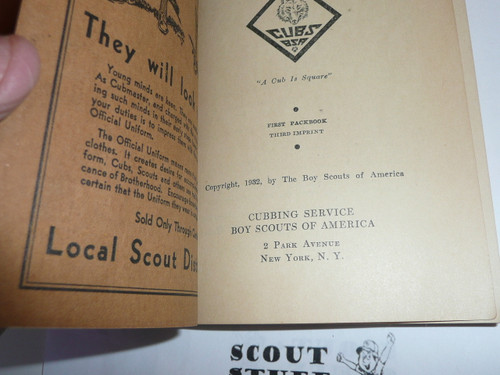 1932 Cubmaster's Packbook, Cub Scout, 3rd Printing