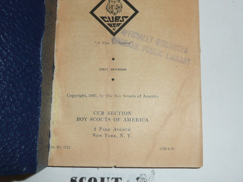 1939 The Den Chief's Denbook, 4-39 Printing
