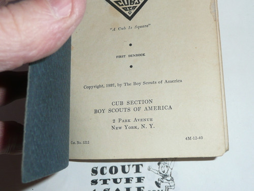 1940 The Den Chief's Denbook, 12-40 Printing