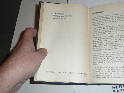 1939 Handbook for Skippers, Sea Scout, Second Edition, First Printing