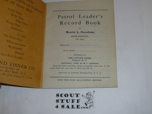 Patrol Leader's Record Book, 1925 Printing, Loaded with info