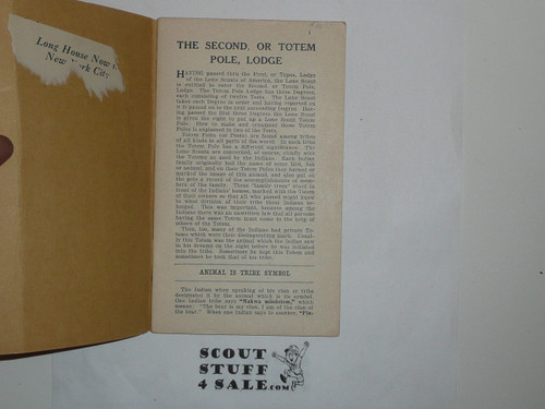 Lone Scout Fourth Degree Book, 1920's pre BSA merger