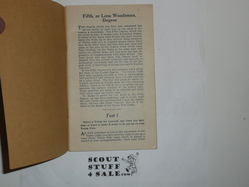 Lone Scout Fifth Degree Book, 1920's pre BSA merger