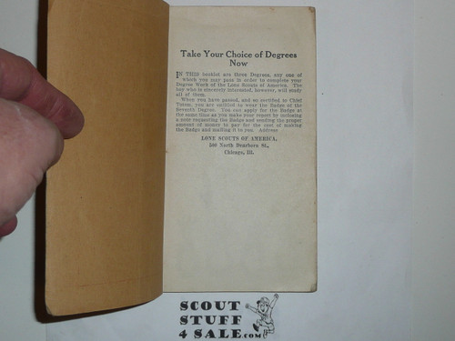 Lone Scout Seventh Degree Book, 1920's pre BSA merger