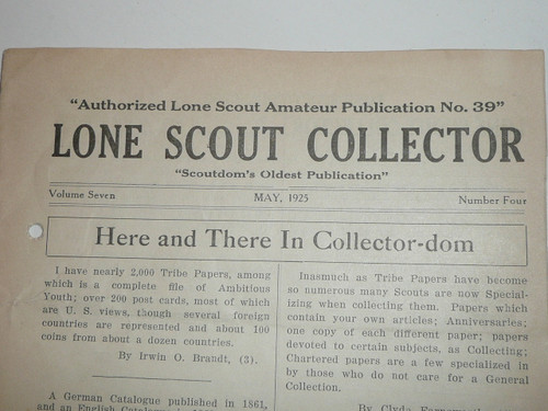 1924-1925 Group of 12 Lone Scout Collector Tribe Newspapers, Had National Distribution, the 1st Scouting related trading organization