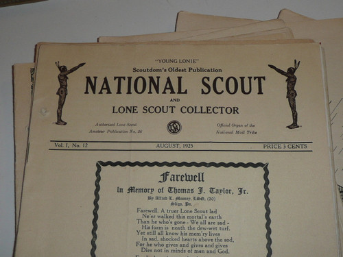 1925-1926 Group of 10 combined Lone Scout Collector & National Scout Tribe Newspapers