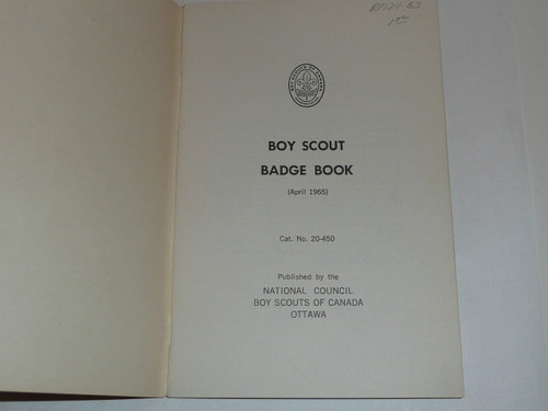 1965 Boy Scout Badge Book, Boy Scouts of Canada, 4-65 printing