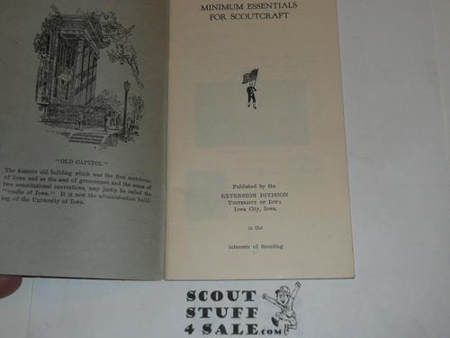 1920's Minimum Essentials for Scoutcraft, University of Iowa