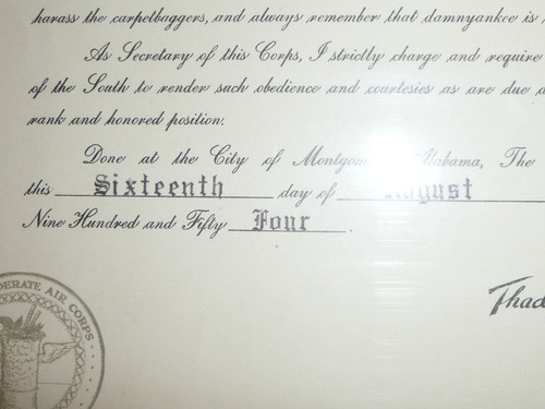 1954 Confederate Air Corps Certificate, Non-Scouting