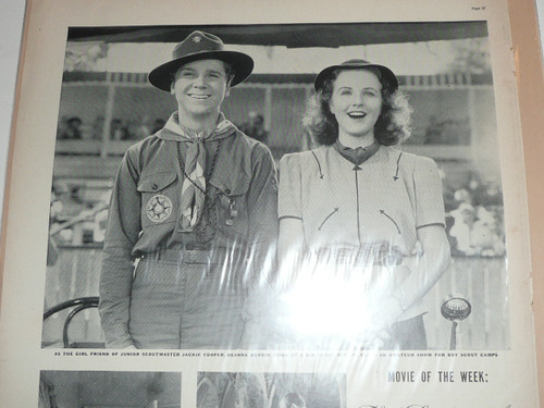 1930's Movie Magazine page with Jackie Cooper in Boy Scout Uniform for movie promotion