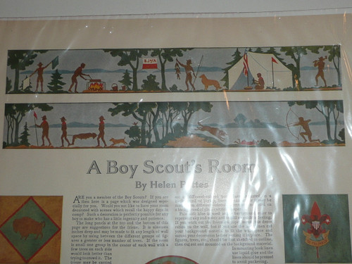 """Teens Color Magazine Article from Ladies' Home Journal titled """"A Boy Scout's Room"""", great graphics"""