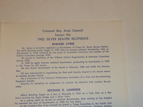 1962 Crescent Bay Area Council Silver Beaver Program, Boy Scouts