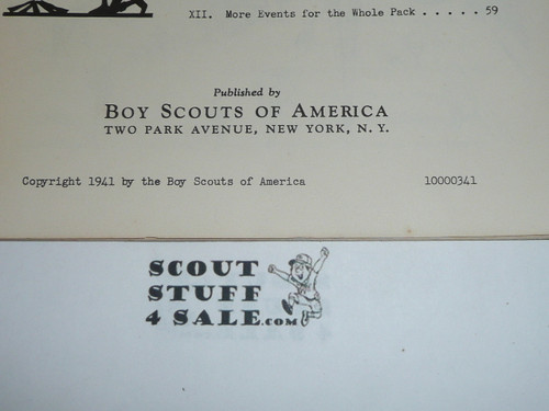 1941 Summer Program for Cubs, Boy Scouts of America, 3-41 Printing