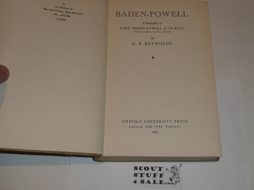 1943 Baden Powell A Biography, By E.E. Reynolds