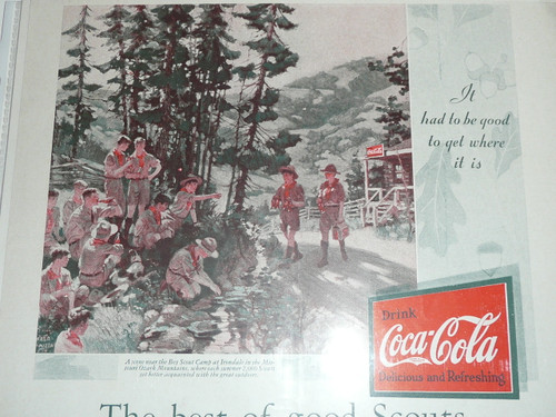 1950's Magazine advertisement for Coca Cola (Coke) with Boy Scout Theme