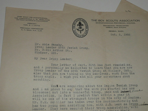 1925-1927 Letters from the Canadian Boy Scout Association on Official Stationary