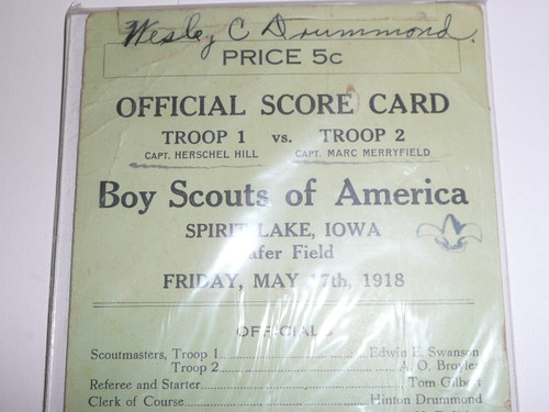 1918 Troop Competition Score Card from Iowa, Boy Scouts of America