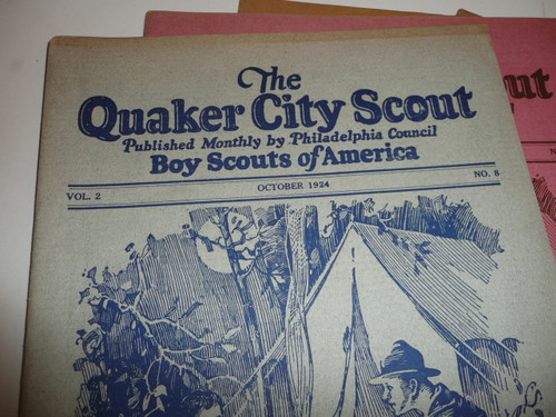 1924-1930 Ten Issues of the Quaker City Scout, Monthly Newsletter of Philadelphia Council, Tons of Early Scout, Camp, and Early Order of the Arrow Historical Information