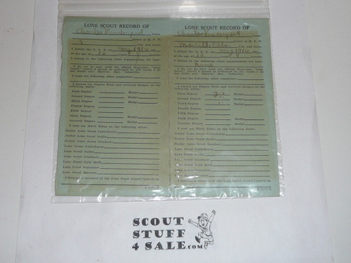 Early 1920's Lone Scouts of America Membership Certificate (Card), pre-BSA merger