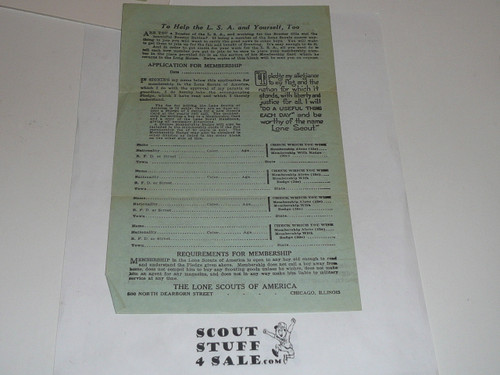 Early 1920's Lone Scouts of America Welcome Letter to new Scout with information, some wear
