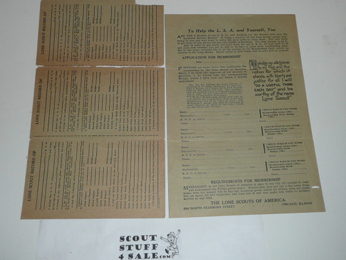 Early 1920's Lone Scouts of America Membership Certificate (Card) with materials order form, pre-BSA merger