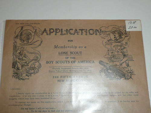 Late 1920's Lone Scout Boy Scouts of America Membership Application