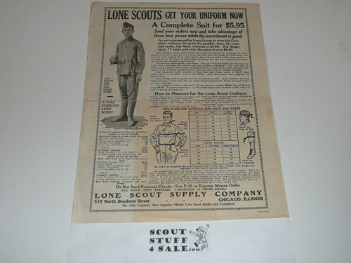 Teens Lone Scouts of America Uniform Order Form with Advertisements