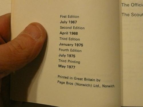 1977 Scout Handbook, British, 5-77 printing, 4th Ed 3rd prtg