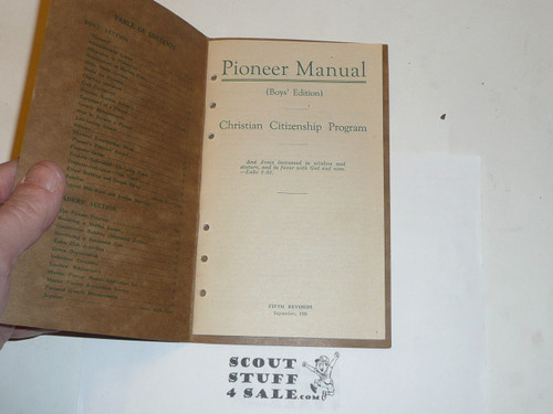 1926 Pioneer Manual, Boys' Edition, Christian Citizenship Program