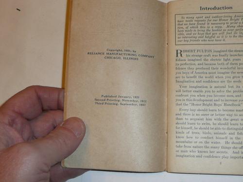 1922 Honor Bright Boys Handbook, 3rd printing