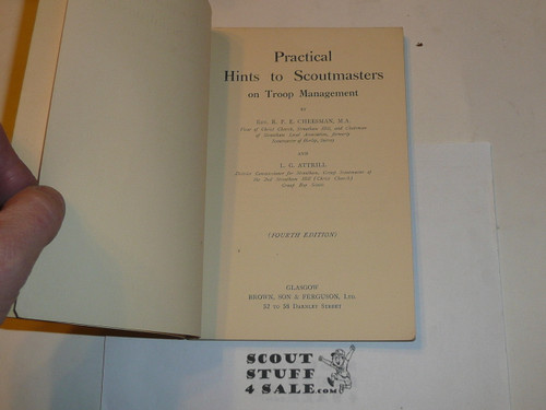 Practical Hints to Scoutmasters in Troop Management, Great Britain, 1934 Printing