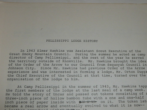 1967 Pellissippi Order of the Arrow Lodge #230 History