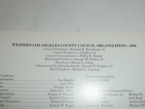 1986 Annual Report of the Western Los Angeles County Council