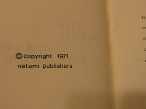 The Patch Collector's Handbook, 1971 Printing