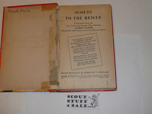 1939 Scouts to the Rescue story book, Jackie Cooper movie, cover separated from spine