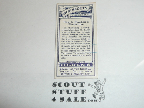 Ogden Tabacco Company Premium Card, Third Boy Scout Series of 50 (Blue Backs), Card #108 How to Sharpen a Plane-iron, 1912