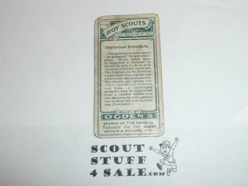 Ogden Tabacco Company Premium Card, Third Boy Scout Series of 50 (Green Backs), Card #118 Improvised Stretchersl, 1912