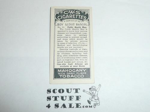 CWS Cigarette Company Premium Card, Boy Scout Badges Series of 50, Card #24 Public Health Man, 1939
