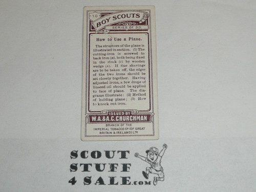 Churchman Cigarette Company Premium Card, Boy Scout Series of 50, Card #10 How to Use a Plane, 1916