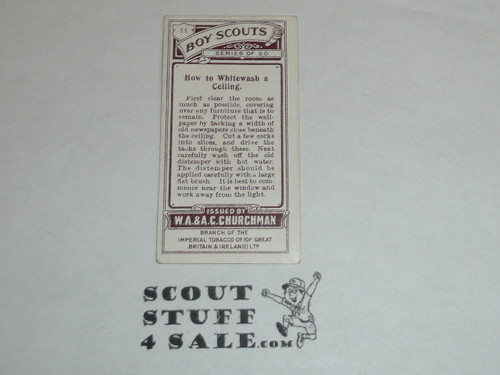 Churchman Cigarette Company Premium Card, Boy Scout Series of 50, Card #11 How to Whitewash a Ceiling, 1916