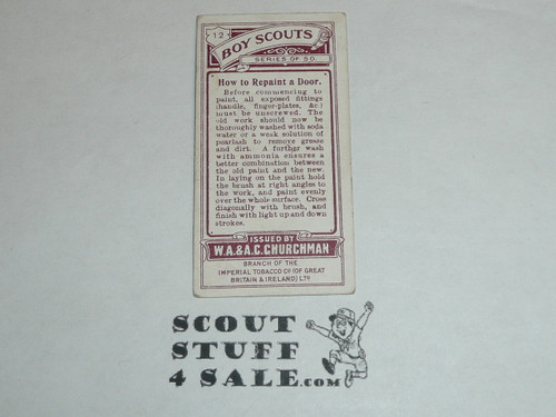 Churchman Cigarette Company Premium Card, Boy Scout Series of 50, Card #12 How to Repaint a Door, 1916