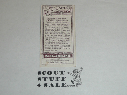 Churchman Cigarette Company Premium Card, Boy Scout Series of 50, Card #16 Schafer's Method of Artificial Respiration, 1916