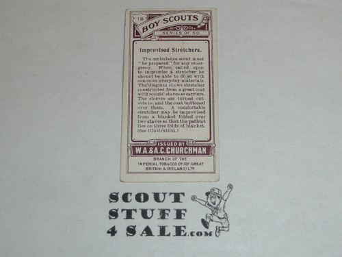 Churchman Cigarette Company Premium Card, Boy Scout Series of 50, Card #18 Improvised Stretchers, 1916