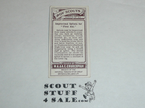 Churchman Cigarette Company Premium Card, Boy Scout Series of 50, Card #19 Improvised Splints for First Aid, 1916