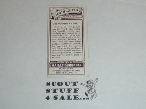 Churchman Cigarette Company Premium Card, Boy Scout Series of 50, Card #20 The Fireman's Lift, 1916