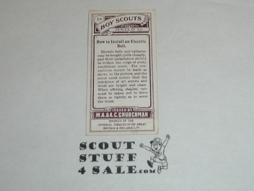 Churchman Cigarette Company Premium Card, Boy Scout Series of 50, Card #24 How to Install an Electric Bell, 1916