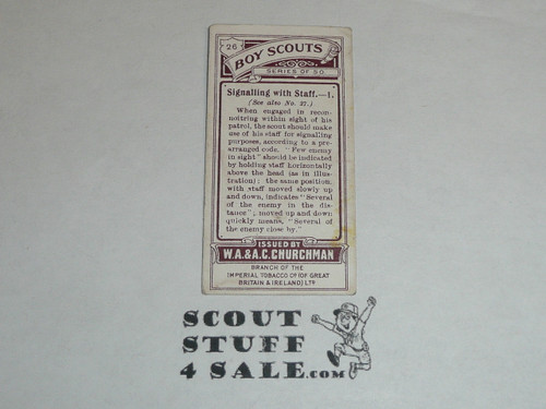 Churchman Cigarette Company Premium Card, Boy Scout Series of 50, Card #26 Signaling with Staff 1, 1916