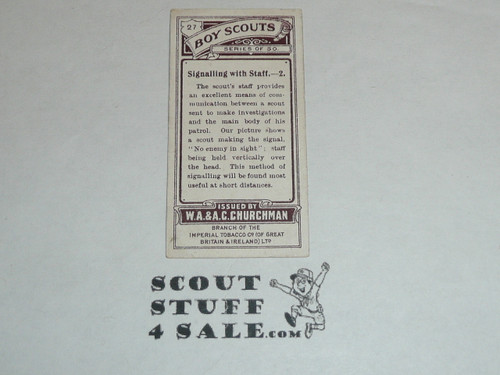 Churchman Cigarette Company Premium Card, Boy Scout Series of 50, Card #27 Signaling with Staff 2, 1916